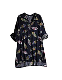 Clearance Womens Casual Loose Vintage Floral Print Patchwork Blouse Splicing Long Tunic Tops Plus Size M-5XL