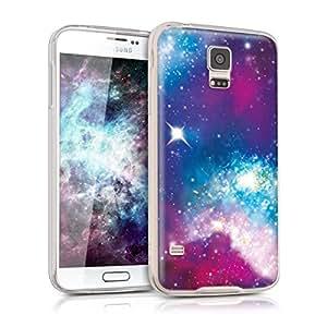 kwmobile Funda para Samsung Galaxy S5 / S5 Neo - Carcasa de TPU para móvil y diseño galáctico Rosa Fucsia/Negro