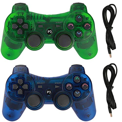 (Molgegk Wireless Bluetooth Controller for PS3 Playstation 3 Six-axis,Remote Joystick Gamepad for Dual Shock with Charge Cable,Pack of 2 (ClearBlue and ClearGreen))