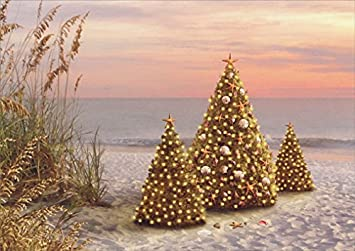 18 christmas cards and embossed envelopes decorated trees on the beach