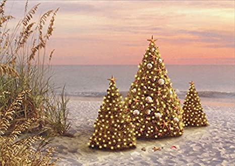 18 Christmas Cards and Embossed Envelopes, Decorated Lit Christmas Holiday Trees on the Beach