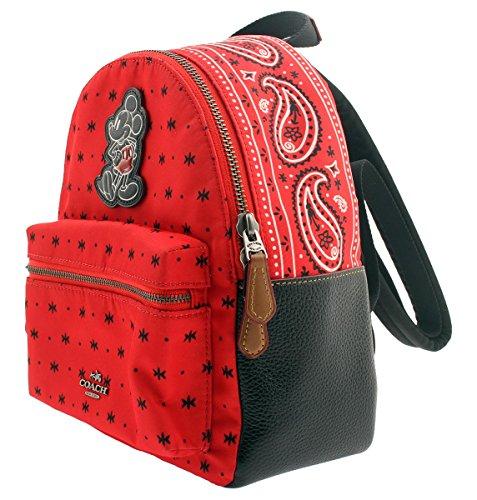 e64b47ffec92 Amazon.com  COACH F59831 MINI CHARLIE BACKPACK IN PRAIRIE BANDANA PRINT  WITH MICKEY QB BRIGHT RED BLACK  Clothing