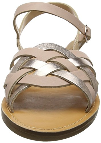 Lattice Rose leather Knöchelriemchen Damen Rose Dune gold leather Sandalen Pink gold C5B4xq8