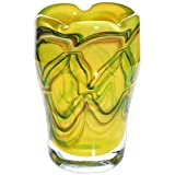 "Flower Vase, Glass Vase ""FADENDEKOR PAVEL"" Yellow/Green/Brown, H=10cm, blown and handmade glass - each piece is unique (ART GLASS powered by CRISTALICA)"