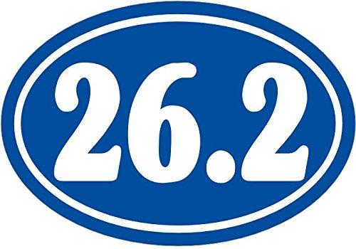 Marathon Runner Oval 26.2 (WickedGoodz Oval Blue 26.2 Marathon Vinyl Decal - Runners Bumper Sticker - Perfect for Runners and Marathoners Gift)