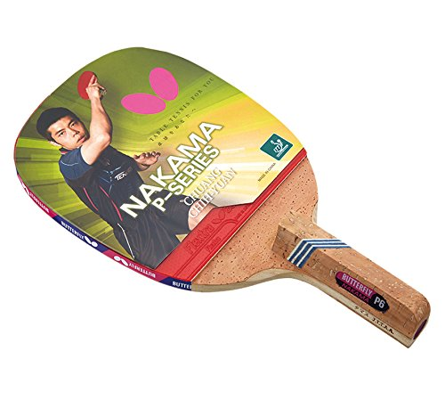 Butterfly Nakama P-6 Table Tennis Racket with 2 Balls - Japanese Penhold Blade - Flextra 1.7mm - ITTF Approved