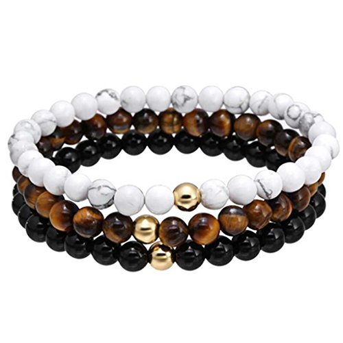 Joan Nunu 3PCS Men Women Bead Bracelet Braided Woven Rope Natural Stone Stack Bangle Bracelet Set