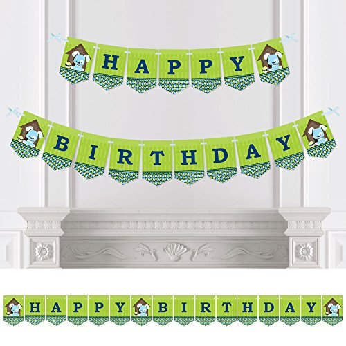 Big Dot of Happiness Boy Puppy Dog - Birthday Party Bunting Banner - Blue Party Decorations - Happy Birthday