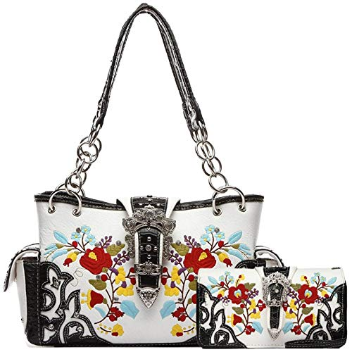 (Embroidered Flower Buckle Western Studded Handbag Concealed Carry Purse Women Shoulder Bag Wallet Set (Black Set))