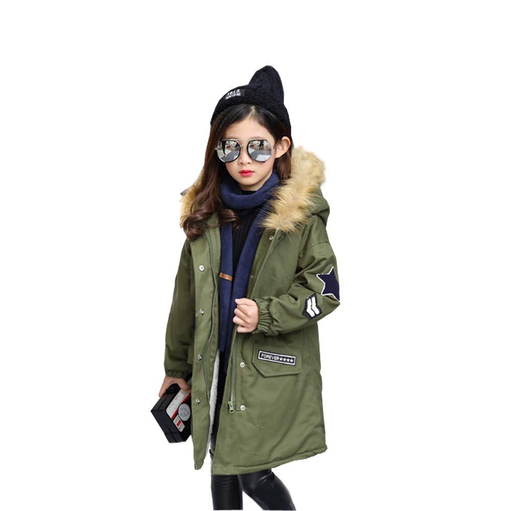 CosSky Girls' Outerwear Jacket Fleece Coat Winter Overcoat with Fur Hood (4-5Years, Olive)