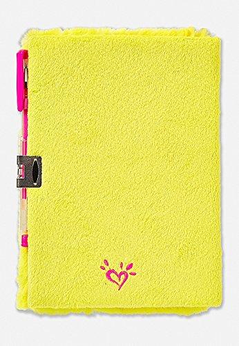 Justice Girls Rainbow Emoji Yellow Faux Fur Journal Diary