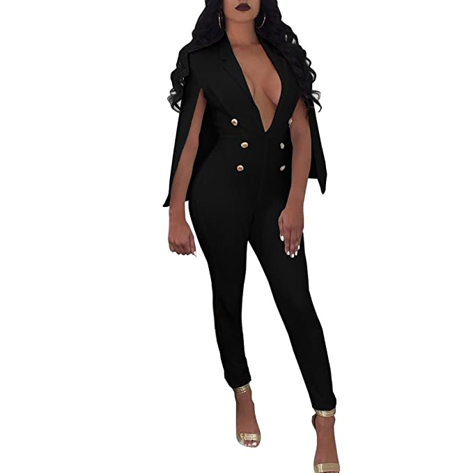 a16d44242c19 Image Unavailable. Image not available for. Color  Corala Women Shawl Cloak  Deep V Button High Waisted Clubwear Long Jumpsuits Romper Pants