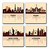 CITIES Vintage Paris Rome New York London Skyline CANVAS Wall Art Home Décor Set of 4