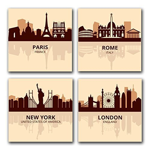 Amazon.com: CITIES Vintage Paris Rome New York London Skyline CANVAS ...