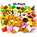 OHill Pack of 46 Pencil Erasers Assorted Food Cake Dessert Puzzle Erasers Birthday Party Supplies Favors, School Classroom Rewards Novelty Toys
