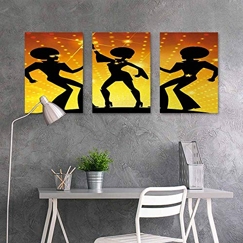 Wall Painting Prints Sticker,70s Party,Dancing People in Disco Night Club with Afro Hair Style Bokeh Backdrop,for Living Room,Dinning Room, Bedroom 3 Panels,16x24inchx3pcs,Orange Yellow Black