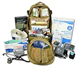Lightning X Premium Stocked Tactical EMS/EMT Trauma First Aid Responder Medical Kit Backpack - Desert Tan
