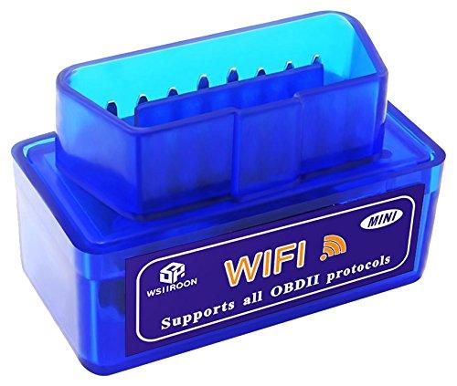 Car WiFi OBD 2、ミニobd2スキャンツール、wsiiroonミニ車obd2 OBDIIスキャンツール自動診断スキャナコードリーダー/スキャンツールチェックエンジンライトfor iOS & Android ブルー WIFI OBD 2 MINI B0725S53VC  ブルー