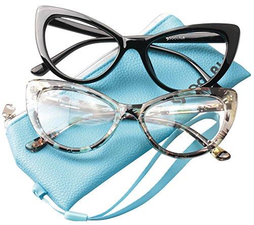 SOOLALA Womens Oversized Fashion Cat Eye Eyeglasses Frame Large Reading Glasses, BlackYellow, +2.5D