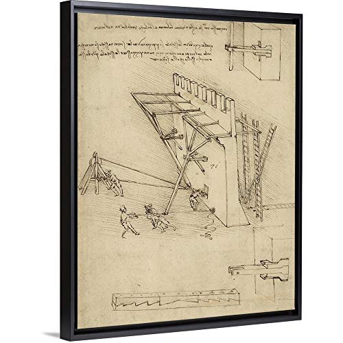 - Leonardo da Vinci Floating Frame Premium Canvas with Black Frame Wall Art Print Entitled Siege Machine in Defense of Fortification with Details of Machine from Atlantic Codex 30