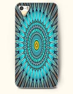 OOFIT New Apple iphone 5 / 5S Hard Back Case - MANDALA CIRCLE - Blue Yellow Navy Mandala Circle