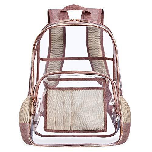 NiceEbag Clear Backpack for School Transparent PVC Bookbag See Through Bag for Women Men Girls Boys...