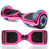 cho Colorful Wheels Series Hoverboard Safety Certified Hover Board Electric Scooter with Built in Speaker Smart Self Balancing Wheels (Pink)