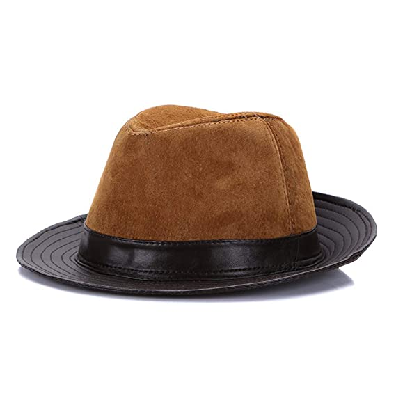 JAMONT Hombres piel de oveja Jazz Hat Winter Warm Classic Suede ...