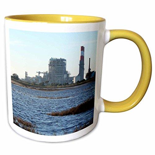 3dRose Henrik Lehnerer Designs - Industrial - Natural gas power station near Oxnard California. - 11oz Two-Tone Yellow Mug - Outlet Oxnard