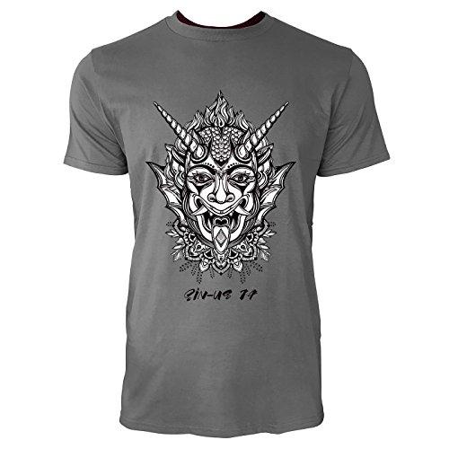 SINUS ART® Gehörnter Dämon Herren T-Shirts in Grau Charocoal Fun Shirt mit tollen Aufdruck