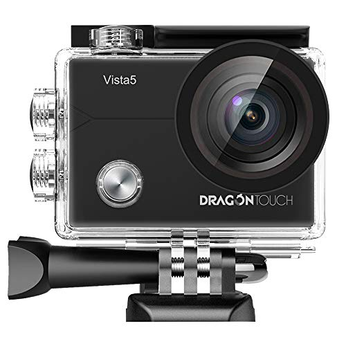 Dragon Touch Native 4K Action Camera Vista 5 WiFi 100 feet Waterproof Sports Camera with Touch Screen Remote Control 2 Batteries and Mounting Accessories Kit