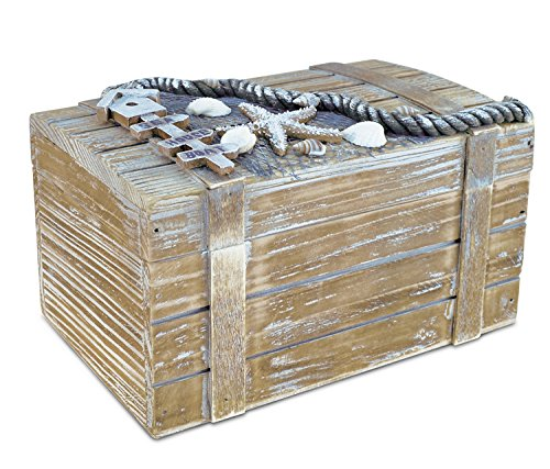Puzzled CoTa Global Large Baja Vintage Wooden Jewelry Box – 9″ x 5.75″ x 5″ – Nautical Decor Trinket Storage Distressed Finish |Treasure Chest Accessory Storage Unique Gift & Souvenir – Item #9583 Review