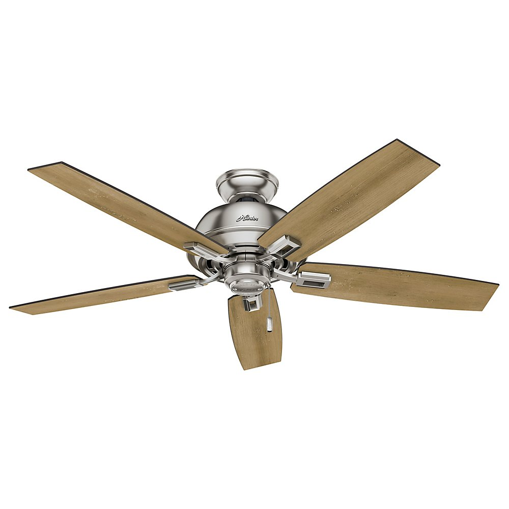 Hunter Indoor Ceiling Fan with light and pull chain control – Donegan 52 inch, Brushed Nickel, 53335