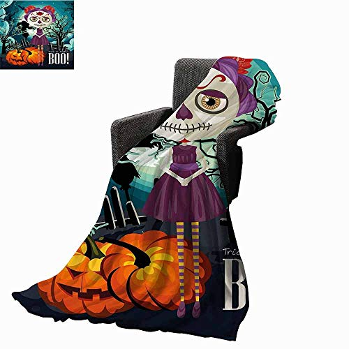 Halloween Bed Blankets,Cartoon Girl with Sugar Skull Makeup Retro Seasonal Artwork Swirled Trees Boo Printing Throw Blanket for Living Room (70