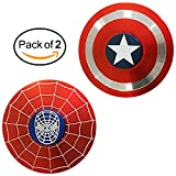 Fidget Spinner Captain America & Spider Man - Smooth Custom Round Shaped Hand Spinners with Ceramic Bearing - Metal and Durable. Stress Reducer Toy & Perfect for ADHD - ADD - Anxiety (2 pack)