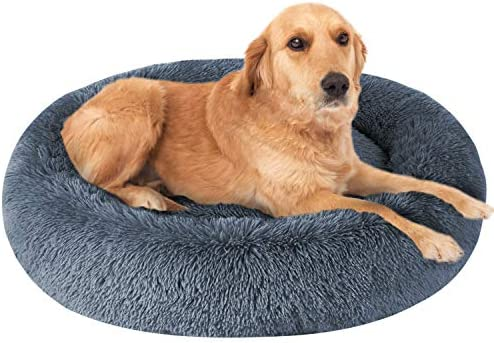 OQQ Round Dog Bed L//XL Faux Fur Pet Bed with Removable Cover for Dogs /& Cats Calming Bed Donut Cuddler Cat Bed Comfortable Rose Swirl Short Plush Beds for Small//Medium//Large Pets
