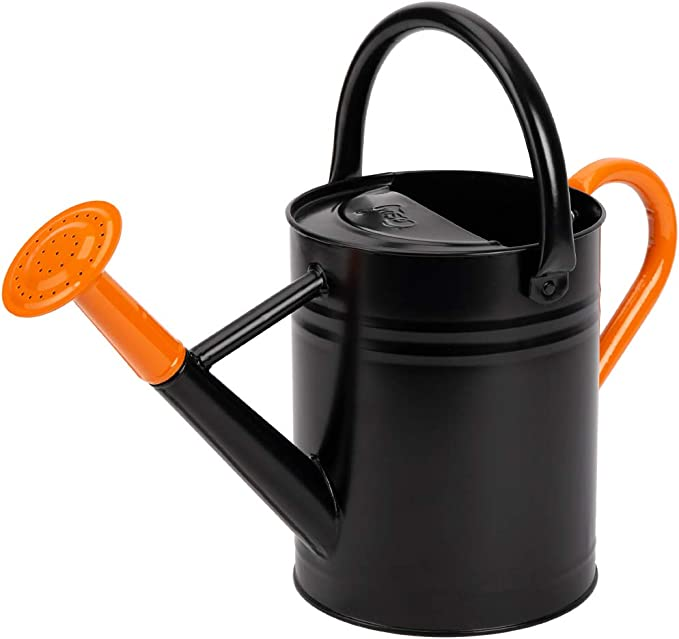 Cesun Metal Watering Can Powder Coated Galvanised Steel Outdoor Watering Can With Removable Rose For Garden Plants 3 8 L 1 Gal Black Orange Amazon Co Uk Garden Outdoors