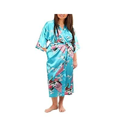 Satin Robes Sleepwear Silk Pijama Bathrobe Animal Rayon Long Nightgown