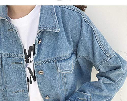 Giubbino Puro Fashion Primaverile Hellblau Confortevole Style Outerwear Jacket Baggy Colore Cappotto Fit Slim Jeans Moda Lunga Fidanzato Donna Giacche Autunno Ragazze Vintage Festa Manica 7OnqTpEw