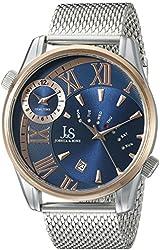 Joshua & Sons Men's JX112RGBU Round Blue Dial Three Hand Quartz Two Tone Bracelet Watch