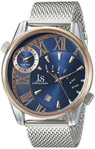 Joshua & Sons Men's JX112RGBU Rose Gold Dual Time Zone Quartz Watch with Blue Dial and Silver Mesh Bracelet