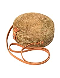 Bali Harvest Round Woven Ata Rattan Bag Linen Inside and Leather Button