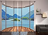 Cheap Nature Modern Home Decor Curtains Seascape Beach Seaside Hills Trees View from Window Picture Window Drapes 2 Panel Set for Living Room Bedroom Blue Green and Brown