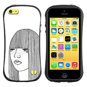 Fuerte Suave TPU GEL Caso Carcasa de Protección Funda para Apple Iphone 5C / Business Style girl sketch white freckles woman art