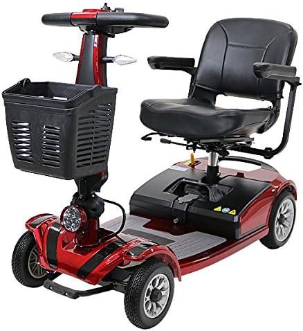 電動シニアカート 赤 シルバーカー 車椅子 TAISコード取得済 運転免許不要 折りたたみ 軽量 コンパクト 電動カート 四輪車 4輪車 移動 高齢者 充電 シート回転 電動車椅子 電動車いす 介護 福祉 敬老 お年寄り 老人 乗り物 贈り物 プレゼント スクーター レッド scooterd01red