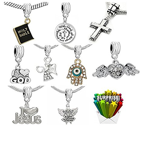 SEXY SPARKLES Religious Cross Jesus Angel Charms in Bulk for Snake Chain Charm Bracelets