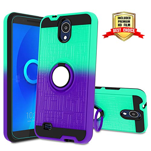 (AT&T AXIA Case, AT&T AXIA QS5509A / Cricket Vision DQON5001 Phone Case with HD Screen Protector,Atump 360 Degree Rotating Ring Holder Kickstand Bracket Cover Phone Case for AT&T AXIA Mint/Purple)