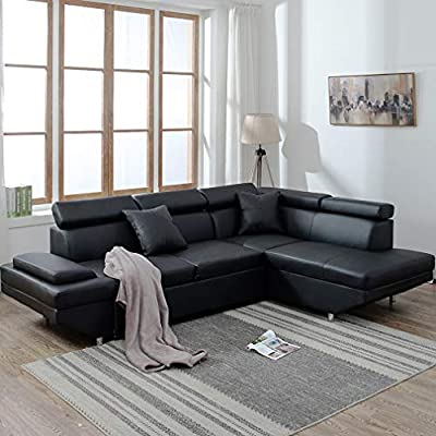 BestMassage Corner Sofas Sets for Living Room, Leather Sectional Corner Sofa Bed with Functional Armrest and Suppor