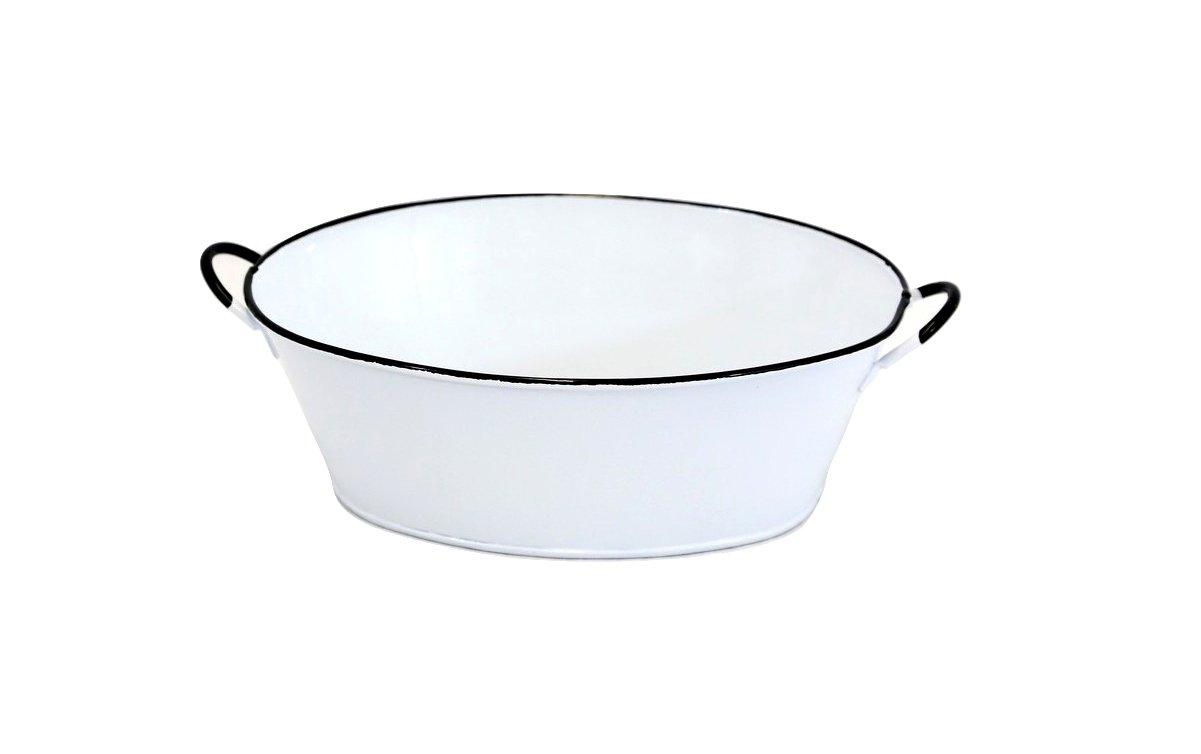 White Enamel Oval Tub - Set Of 2