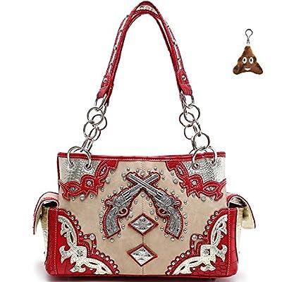 Cowgirl Trendy Western Concealed Carry Cross Silver Pistol Purse Handbag Shoulder Bag Wallet Set Red